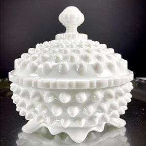 Vintage Fenton Milk Glass Hobnail Dish with Lid